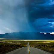 A late afternoon thunderstorm makes it's way over the Owens Valley near Mammoth Lakes,  CA and Benton Crossing in the eastern Sierra.