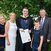 """25.08.2016          <br />  Faculty of Business, Kemmy Business School graduations at the University of Limerick today. <br /> <br /> Attending the conferring was BBs graduate, David Clifford with his family, left to right, Aoife, Kay, Conor and John Clifford., Foynes CO. Limerick. Picture: Alan Place.<br /> <br /> <br /> As the University of Limerick commences four days of conferring ceremonies which will see 2568 students graduate, including 50 PhD graduates, UL President, Professor Don Barry highlighted the continued demand for UL graduates by employers; """"Traditionally UL's Graduate Employment figures trend well above the national average. Despite the challenging environment, UL's graduate employment rate for 2015 primary degree-holders is now 14% higher than the HEA's most recently-available national average figure which is 58% for 2014"""". The survey of UL's 2015 graduates showed that 92% are either employed or pursuing further study."""" Picture: Alan Place"""