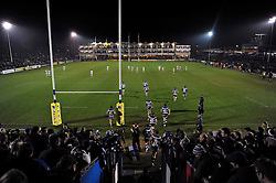 The Bath Rugby team run out onto the field for the second half - Photo mandatory by-line: Patrick Khachfe/JMP - Mobile: 07966 386802 15/11/2014 - SPORT - RUGBY UNION - Bath - Recreation Ground - Bath Rugby v Newcastle Falcons - Aviva Premiership