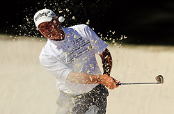 Fred Couples hits from a bunker on the 10th hole during the third round of the Masters Tournament at Augusta National Golf Club in Augusta, Ga., on Saturday, April 8, 2017. (Photo by Curtis Compton/Atlanta Journal-Constitution/TNS) *** Please Use Credit from Credit Field ***