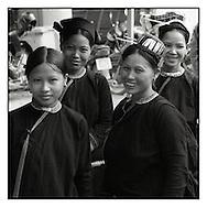 Portrait of ethnic minority women in Bao Lac market, a city of north Vietnam, Asia