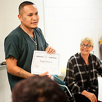 Roger Pino Jr. says a few words during a graduation luncheon after recieving a certificate of completion for a 28 day substance abuse treatment program, Wednesday, July 18 at the McKinley Adult Dentention Center.