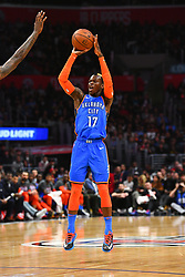 March 9, 2019 - Los Angeles, CA, U.S. - LOS ANGELES, CA - MARCH 08: Oklahoma City Thunder Guard Dennis Schroder (17) shoots a jump shot during a NBA game between the Oklahoma City Thunder and the Los Angeles Clippers on March 8, 2019 at STAPLES Center in Los Angeles, CA. (Photo by Brian Rothmuller/Icon Sportswire) (Credit Image: © Brian Rothmuller/Icon SMI via ZUMA Press)