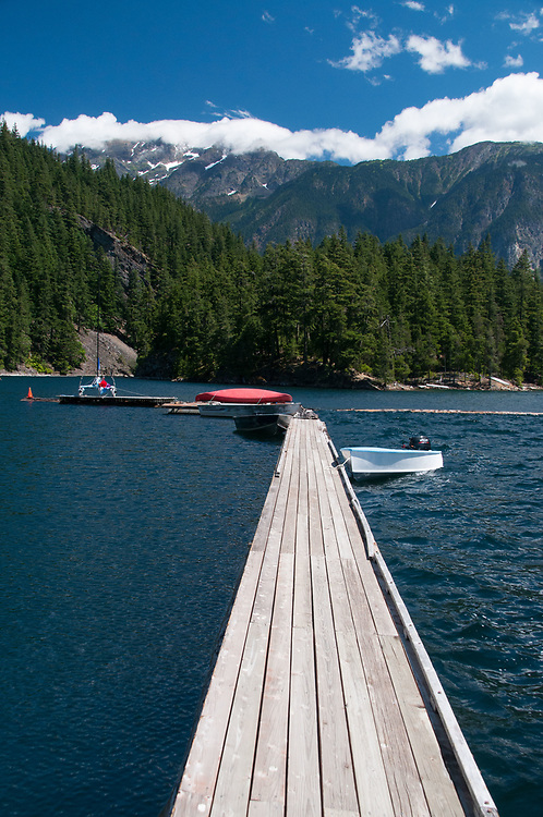 Dock and Canoe at Ross Lake Resort, Ross Lake National Recreation Area, North Cascades National Park, US