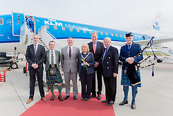 Inverness Airport welcomed KLM's Inaugural flight from Amsterdam. To celebrate the new route, the first flight from Schiphol, Amsterdam was greeted by a water cannon salute upon arrival.  On board were Barry ter Voert, Senior Vice President, Air France KLM European Markets and Wilco Swejen, Director for Aviation Marketing, Schipol Airport.  Provost Helen Carmichael, The Highland Council, Inglis Lyon, Managing Director of Highlands and Islands Aiports and Drew Hendry MP (Inverness, Nairn, Badenoch and Strathspey) met the delegation, officially welcoming the group to the Highlands. <br /> <br /> Pictured: Welcoming party<br /> <br /> Malcolm McCurrach | EEm | Tue, 17, May, 2016