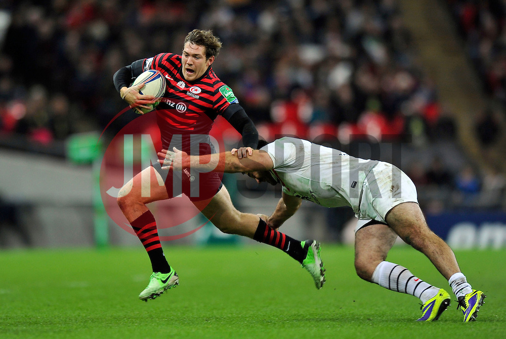 Saracens fullback Alex Goode goes on the attack - Photo mandatory by-line: Patrick Khachfe/JMP - Tel: 07966 386802 - 18/10/2013 - SPORT - RUGBY UNION - Wembley Stadium, London - Saracens v Toulouse - Heineken Cup Round 2.