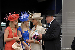 JILLY JAMES, sisters FAWN JAMES and INDIA JAMES and JOHN JAMES at at the first day of the 2009 Royal Ascot racing festival on 16th June 2009.