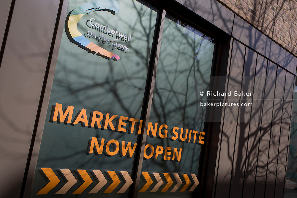 The marketing suite is open for new business in a new apartment block, a regeneration project in Camberwell, on 2nd March 2017, in the London borough of Southwark, England.