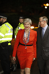 © Licensed to London News Pictures. 09/06/2017. Maidenhead, UK. Prime Minister Theresa May arrives at her constituency count at the Magnet Leisure Centre in Maidenhead. Polling stations are closing at 10pm with TV exit poll predicting a hung parliament. Photo credit: Peter Macdiarmid/LNP