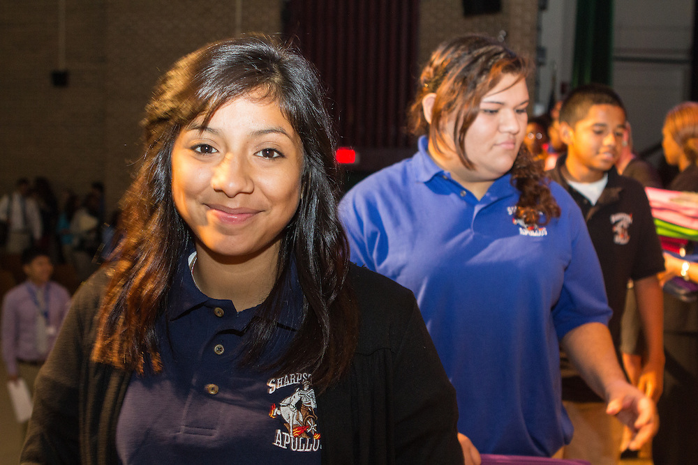 Chase distributes backpacks and school supplies to students at Sharpstown High School