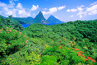 View of the Pitons from Anse Chastenet Resort, Soufriere, St. Lucia
