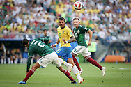Paulinho of Brazil and Hugo Ayala of Mexico during the 2018 FIFA World Cup Russia, round of 16 football match between Brazil and Mexico on July 2, 2018 at Samara Arena in Samara, Russia - Photo Thiago Bernardes / FramePhoto / ProSportsImages / DPPI