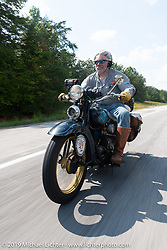 Frank Westfall riding his 1930 Henderson KJ in the Cross Country Chase motorcycle endurance run from Sault Sainte Marie, MI to Key West, FL (for vintage bikes from 1930-1948). Stage 5 had riders cover 213 miles from Bowling Green, KY to Chatanooga, TN USA. Tuesday, September 10, 2019. Photography ©2019 Michael Lichter.