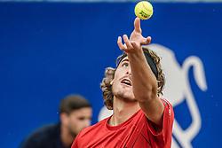 April 29, 2018 - Barcelona, Catalonia, Spain - STEFANOS TSITSIPAS (GRE) serves against Rafael Nadal (ESP) in the final of the 'Barcelona Open Banc Sabadell'. Nadal won 6:2, 6:1 (Credit Image: © Matthias Oesterle via ZUMA Wire)