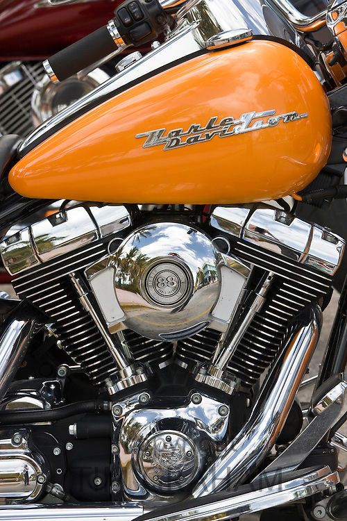 Harley Davidson Road King motorcycle with 88 cubic inches twin cam engine, South Beach, Miami, Florida