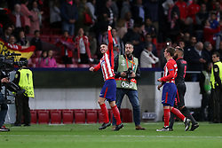 May 3, 2018 - Madrid, Spain - LUCAS HERNANDEZ of Atletico de Madrid celebrates victory during the UEFA Europa League, semi final, 2nd leg football match between Atletico de Madrid and Arsenal FC on May 3, 2018 at Metropolitano stadium in Madrid, Spain (Credit Image: © Manuel Blondeau via ZUMA Wire)