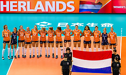 07-10-2018 JPN: World Championship Volleyball Women day 8, Nagoya<br /> Netherlands - Puerto Rico 3-0 / Nicole Koolhaas #22 of Netherlands, Myrthe Schoot #9 of Netherlands, Tessa Polder #20 of Netherlands, Marrit Jasper #18 of Netherlands, Nicole Oude Luttikhuis #17 of Netherlands, Laura Dijkema #14 of Netherlands, Britt Bongaerts #12 of Netherlands, Anne Buijs #11 of Netherlands, Lonneke Sloetjes #10 of Netherlands, Juliet Lohuis #7 of Netherlands, Celeste Plak #4 of Netherlands, Yvon Belien #3 of Netherlands, Kirsten Knip #1 of Netherlands, Maret Balkestein-Grothues #6 of Netherlands