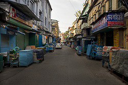 A deserted lane in the College street area in Kolkata, it is the largest book market in the country and is one of the most important and recognised places in the city. India is going through the 2nd phase of lockdown due to covid 19 pandemic. This is to curb the spread of Covid 19 in the country. The second phase is handled with more strict rules by the administration. Kolkata, West Bengal, India, April 19, 2020. Photo by Arindam Mukherjee/ABACAPRESS.COM