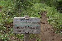 Trail sign Glacier peak Wilderness, North Cascades Washington