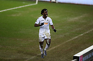 Wilfried Bony of Swansea city celebrates after he scores his teams 2nd goal. The Emirates FA Cup, 3rd round replay match, Swansea city v Wolverhampton Wanderers at the Liberty Stadium in Swansea, South Wales on Wednesday 17th January 2018.<br /> pic by  Andrew Orchard, Andrew Orchard sports photography.