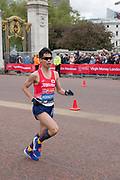 Japanese para-athlete Tadashi Horikoshi running at The Mall during The Virgin London Marathon on 28th April 2019 in London in the United Kingdom. Now in it's 39th year, the London Marathon is a large sporting event with over 40,000 runners expected to take part.