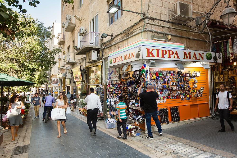 People are seen on Ben Yehuda Street in Jerusalem, Israel, on October 1, 2017.