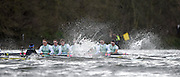 Putney - Chiswick, London,  Great Britain.<br /> CUBC, approach the  timing flag [yellow] at Chiswick Steps during the <br /> 2016 University Boat Race, Oxford vs Cambridge, Putney. Putney  to Mortlake, Championship Course. River Thames.<br /> <br /> Sunday  27/03/2016 <br /> <br /> [Mandatory Credit; Peter SPURRIER/Intersport-images]    CUBC. Bow: Felix Newman, 2: Ali Abbas, 3: Charles Fisher, 4: Clemens Auersperg, 5: Luke Juckett, 6: Henry Hoffstot, 7: Ben Ruble, Stroke: Lance Tredell, Cox: Ian Middleton.