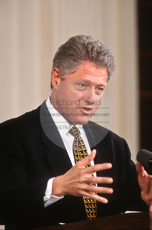 President Clinton during joint news conference with Egypt's Hosni Mubarak March 10, 1997 in the White House East Room.