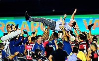 SAO PAULO, BRAZIL - FEBRUARY 25: Head Coach Rogerio Ceni of CR Flamengo celebrates with his teams players the championship  ,after a Brasileirao Serie A 2020 match between Sao Paulo FC and CR Flamengo at Morumbi Stadium on February 25, 2021 in Sao Paulo, Brazil. (Photo by MB Media/BPA)