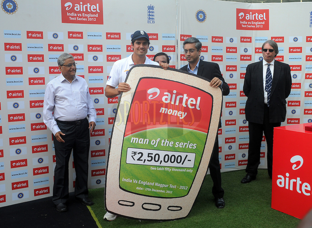 Alastair Cook captain of England receives the man of the series award during day fifth of the 4th Airtel Test Match between India and England held at VCA ground in Nagpur on the 17th December 2012..Photo by  Pal Pillai/BCCI/SPORTZPICS .