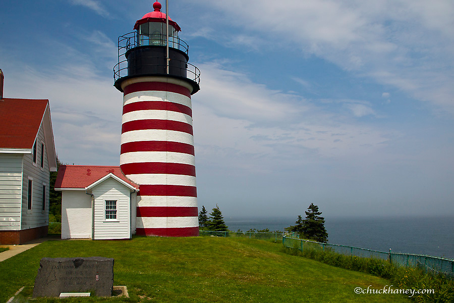 West Quoddy Head Lighthouse State Park is the furthest east point in USA near Lubec, Maine, USA
