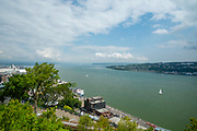 High angle view of the Saint Lawrence River, from the Citadelle de Quebec, Canada.