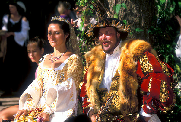 Stock photo of a man and woman together in costume at the Texas Renaissance Festival in Plantersville Texas