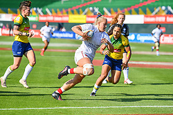 Sara Kaljuvee of Canada scores a try<br /> <br /> Photographer Craig Thomas/Replay Images<br /> <br /> World Rugby HSBC World Sevens Series - Day 2 - Friday 6rd December 2019 - Sevens Stadium - Dubai<br /> <br /> World Copyright © Replay Images . All rights reserved. info@replayimages.co.uk - http://replayimages.co.uk