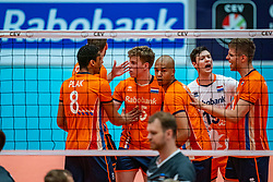 12-06-2019 NED: Golden League Netherlands - Estonia, Hoogeveen<br /> Fifth match poule B - The Netherlands win 3-0 from Estonia in the series of the group stage in the Golden European League / Gijs van Solkema #15 of Netherlands, Nimir Abdelaziz #14 of Netherlands, Just Dronkers #19 of Netherlands, Thijs Ter Horst #4 of Netherlands