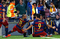 Luis Suarez of FC Barcelona celebrates with Neymar after scoring his side's second goal during the UEFA Champions League Group E football match between FC Barcelona and Bayer Leverkusen on September 29, 2015 at Camp Nou stadium in Barcelona, Spain.<br /> Photo: Manuel Blondeau/AOP Press/DPPI