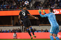 March 9, 2019 - San Jose, CA, U.S. - SAN JOSE, CA - MARCH 09: San Jose Earthquakes forward Danny Hoesen (9) has his header stopped by Minnesota United goalkeeper Vito Mannone (1) during the MLS match between the Minnesota United and the San Jose Earthquakes at Avaya Stadium on March 9, 2019 in San Jose, CA. (Photo by Cody Glenn/Icon Sportswire) (Credit Image: © Cody Glenn/Icon SMI via ZUMA Press)