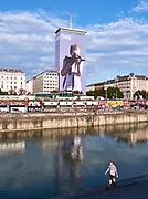 House Art, Austria. Ringturm, Vienna. 'I saw this' by Gottfried Helnwein (2018) takes aim at the city.