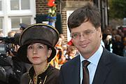 Zijne Hoogheid Prins Floris van Oranje Nassau, van Vollenhoven en mevrouw mr. A.L.A.M. Söhngen zijn zaterdag 22 oktober in de kerk van Naarden in het  huwelijk getreden. De prins is de jongste zoon van Prinses Magriet en Pieter van Vollenhoven.<br /> <br /> Church Wedding Prince Floris and Aimée Söhngen. <br /> <br /> Church Wedding Prince Floris and Aimée Söhngen in Naarden. The Prince is the youngest son of Princess Margriet, Queen Beatrix's sister, and Pieter van Vollenhoven. <br /> <br /> Op de foto / On the photo;<br /> <br /> President Balkenende en zijn vrouw