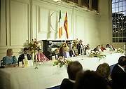 State Visit of King Juan Carlos and Queen Sophia of Spain to Ireland.<br /> 1986.<br /> 30.06.1986<br /> 06.30.1986.<br /> 30th June 1986.<br /> King Juan Carlos and Queen Sophia paid a state visit to Ireland at the invitation of President Hillery and the Irish people.<br /> The duration of the visit was three days.<br /> <br /> A general view of the inside of the dining hall at Áras an Uachtaráin.