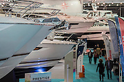 Prestige power boats - The London Boat Show opens at the Excel centre. London 06 Jan 2017