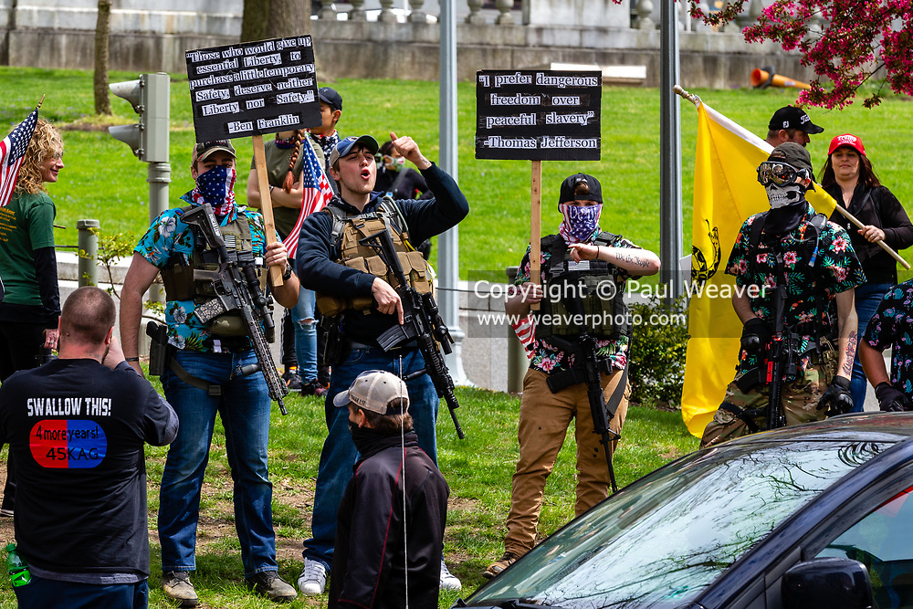 April 20, 2020 -- Armed protesters at the Pennsylvania State Capitol demand that Governor Tom Wolf allow businesses to reopen.