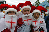 Photo: Steve Holland.<br />Australia v England. Rugby World Cup Final, at the Telstra Stadium, Sydney. RWC 2003. 22/11/2003. <br />England fans enjoy the pre-match entertainment.