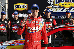 April 13, 2018 - Bristol, Tennessee, United States of America - April 13, 2018 - Bristol, Tennessee, USA: Kyle Busch (18) wins the Busch Pole award for the Food City 500 at Bristol Motor Speedway in Bristol, Tennessee. (Credit Image: © Stephen A. Arce/ASP via ZUMA Wire)
