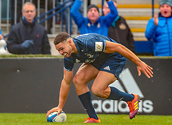 Leinster's Adam Byrne touches down to score a try during the Heineken Champions Cup match at the RDS Arena.