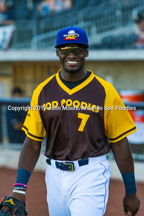 Amarillo Sod Poodles outfielder Taylor Trammell (7) against the Frisco RoughRiders on Saturday, Aug. 17, 2019, at HODGETOWN in Amarillo, Texas. [Photo by John Moore/Amarillo Sod Poodles]