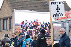 On the big screen. The race was streamed live for all to see - 2016 Omloop van het Hageland - Tielt-Winge, a 129km road race starting and finishing in Tielt-Winge, on February 28, 2016 in Vlaams-Brabant, Belgium.