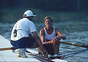 Banyoles, SPAIN, BRONZE Medalist,  CAN W1X SILKEN LAUMANN, chat's with her coach, Mike SPRACKLEN,  1992 Olympic Regatta, Lake Banyoles, Barcelona, SPAIN.  [Mandatory Credit: Peter Spurrier: Intersport Images]