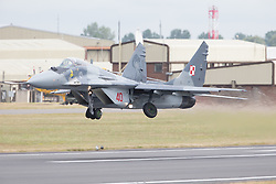 © Licensed to London News Pictures. 17/07/2015. RAF Fairford, UK. Polish Air Force Mig-29 The Royal International Air Tattoo (RIAT). Photo credit : Ian Schofield/LNP
