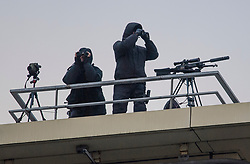 © Licensed to London News Pictures. 02/10/2017. Manchester, UK. Snipers on a rooftop near the conference centre on the second day of the Conservative Party Conference. The four day event is expected to focus heavily on Brexit, with the British prime minister hoping to dampen rumours of a leadership challenge. Photo credit: Ben Cawthra/LNP